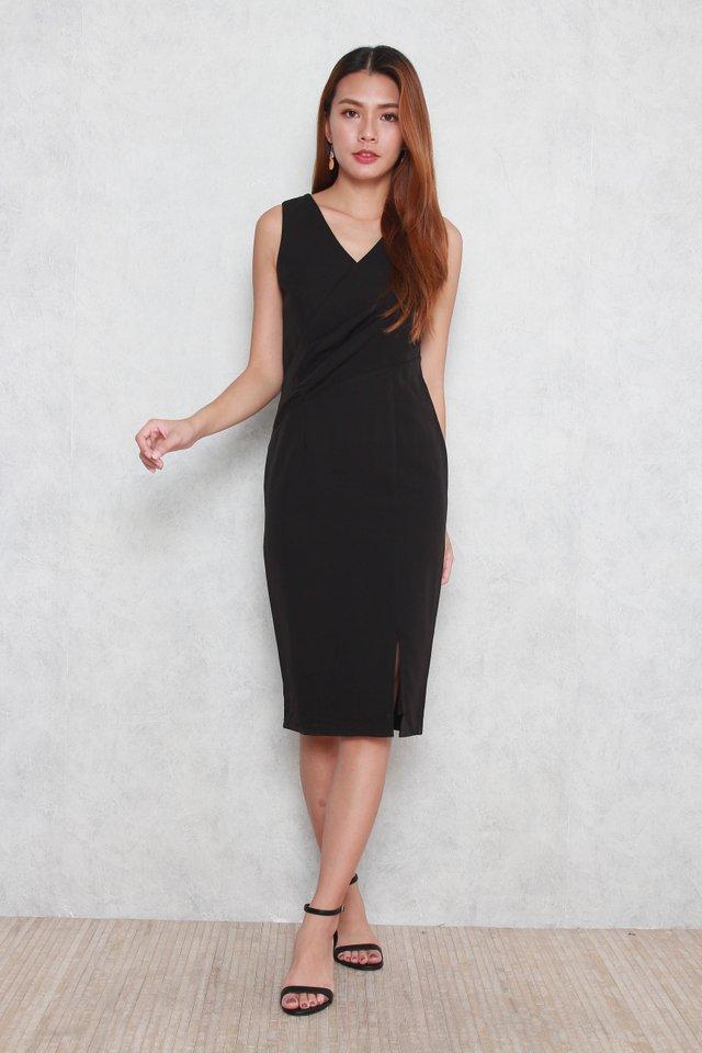 Trinity V-Neck Pencil Dress in Black