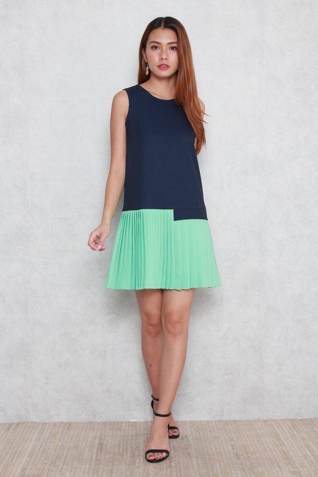 Alivia Pleated Mini Dress in Mint