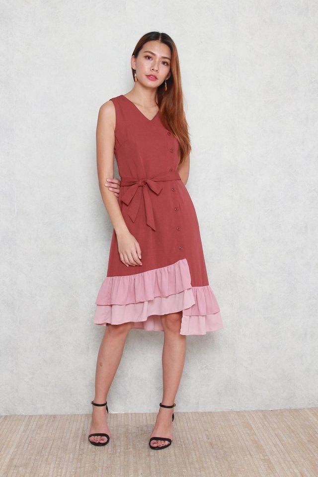 Hadley Tiered Colorblock Hem Dress in Tea Rose