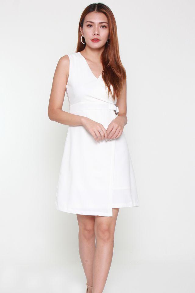 Olivia Buckle Work Dress in White