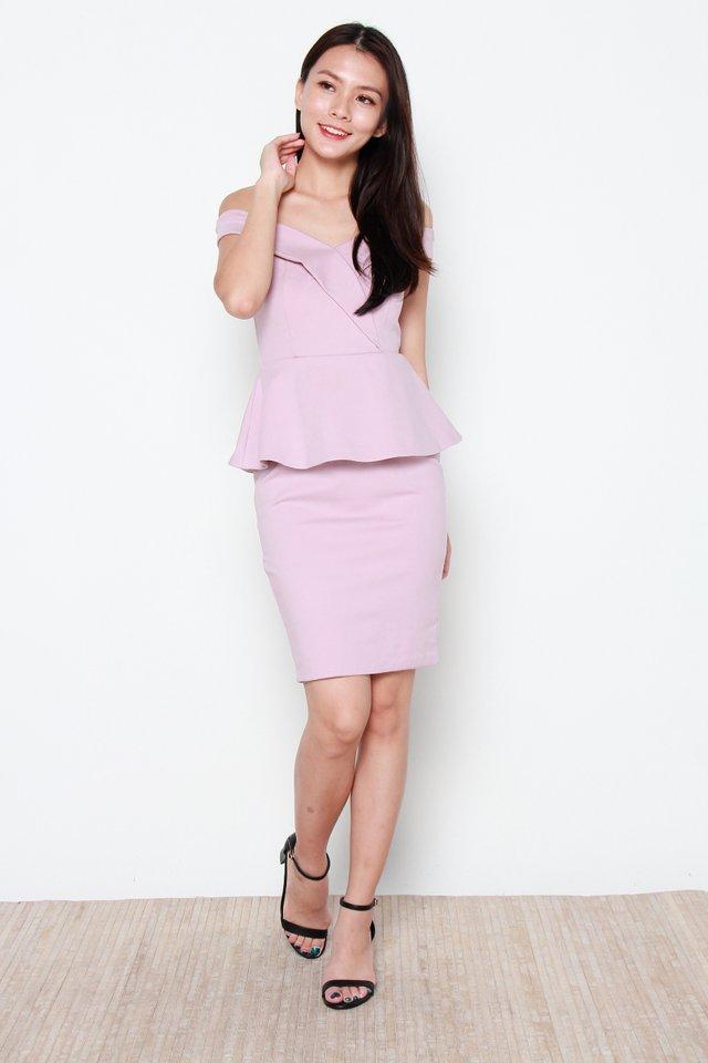 Claudie Off Shoulder Peplum Dress in Blush