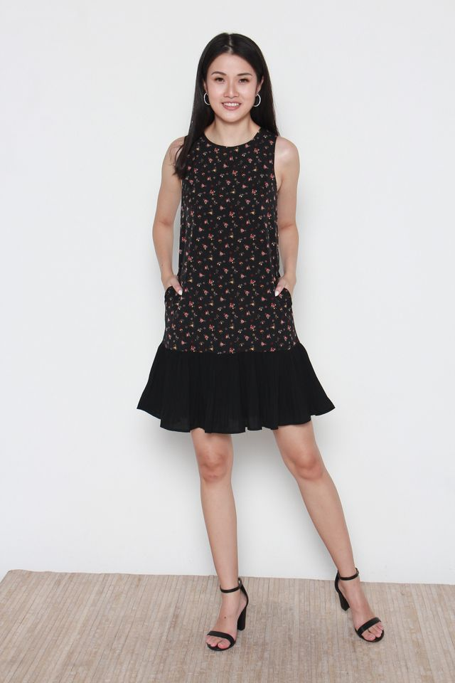 Azaria Floral Pleated Dress in Black