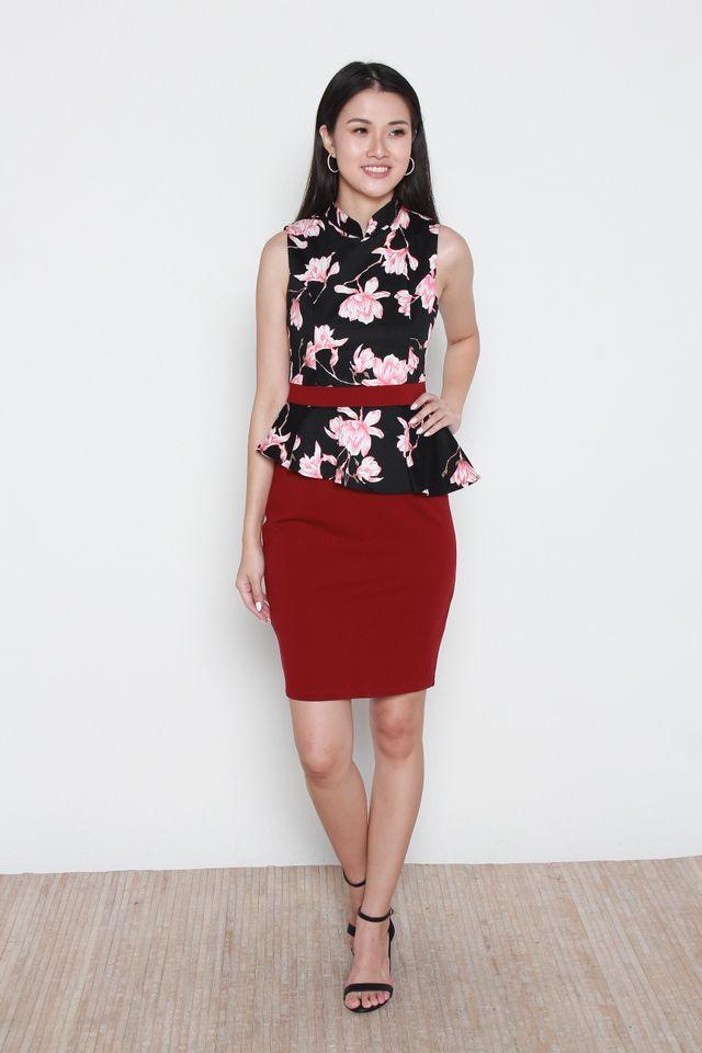 Namiko Floral Peplum Dress (Removable Oriental Collar)