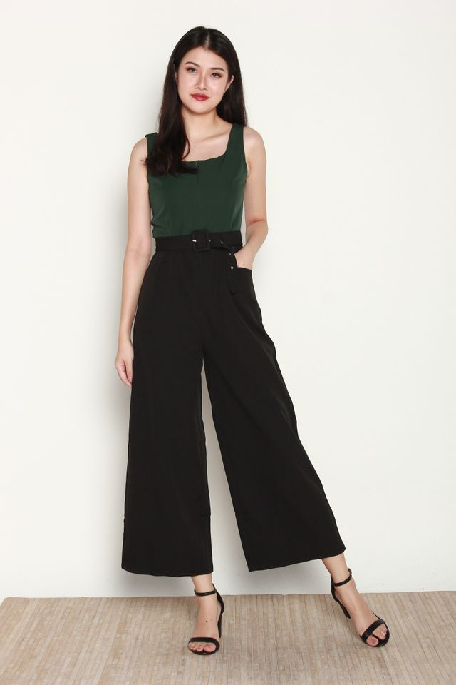 Danessa Two Tone Front Zip Jumpsuit in Forest Green/Black