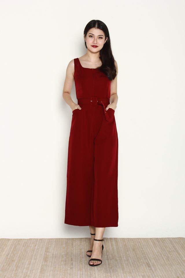 Ballari Front Zip Jumpsuit in Wine Red