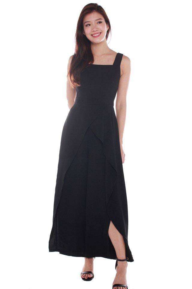 Tessa Ruffled Jumpsuit in Black