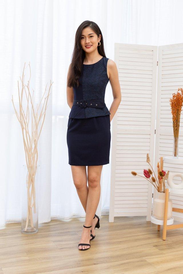 Mavis Peplum Work Dress in Blue