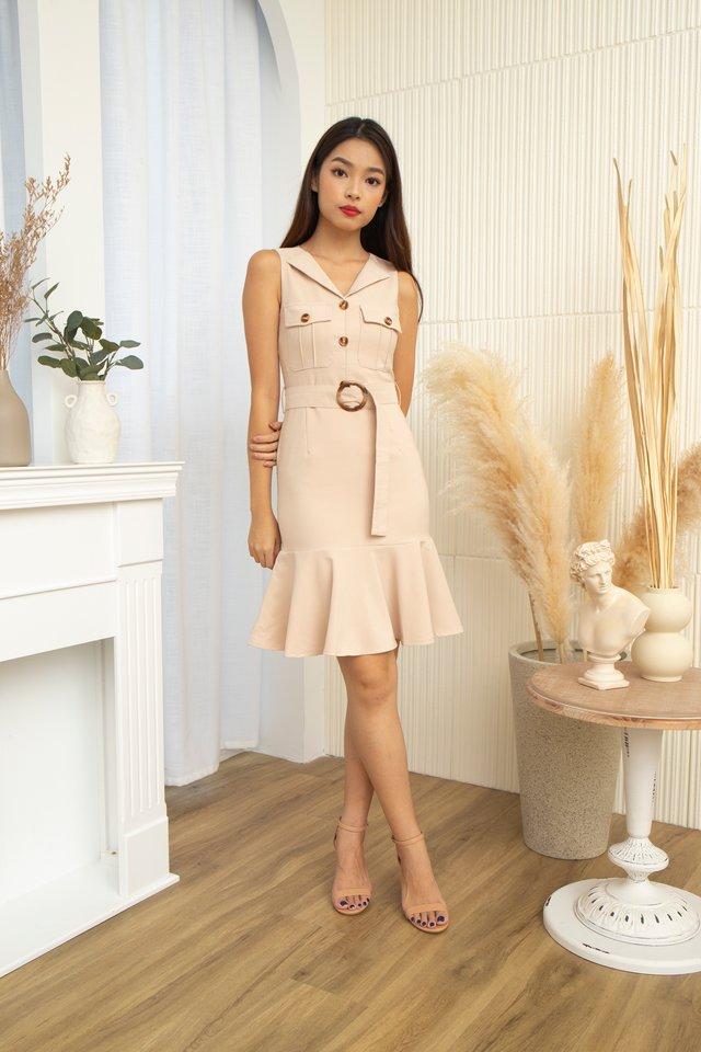 Chantal Safari Ruffles Hem Dress in Cream
