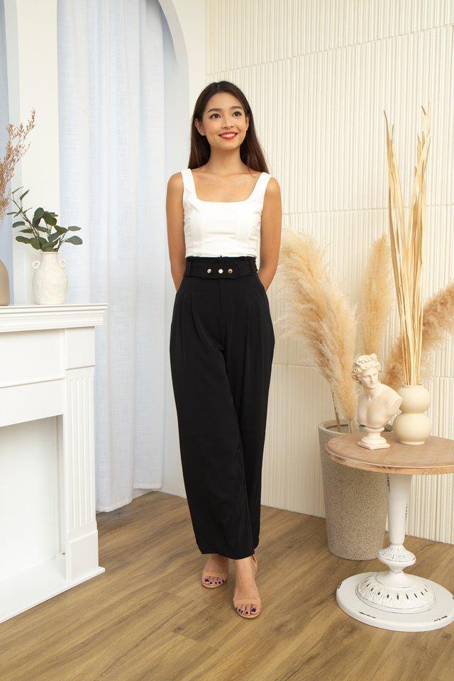 Bastina High Waist Pants With Belt in Black