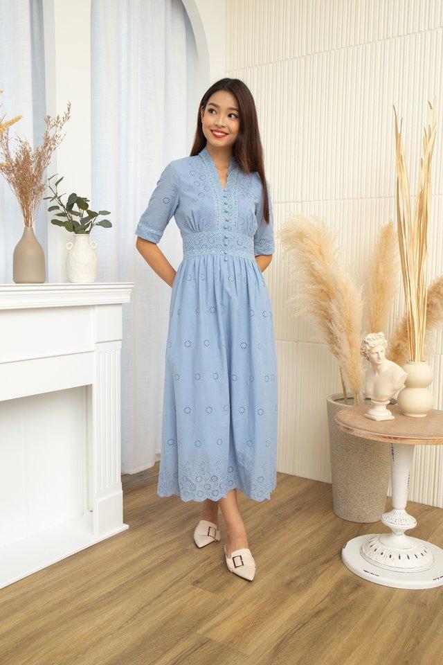 Cerise V-Neck Eyelet Dress in Blue