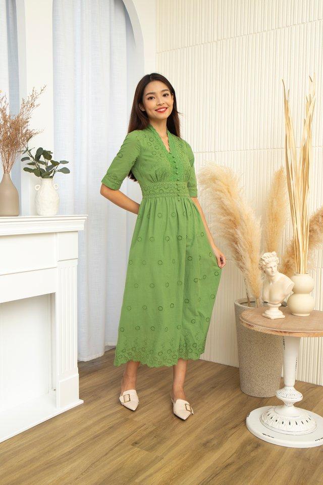 Cerise V-Neck Eyelet Dress in Green