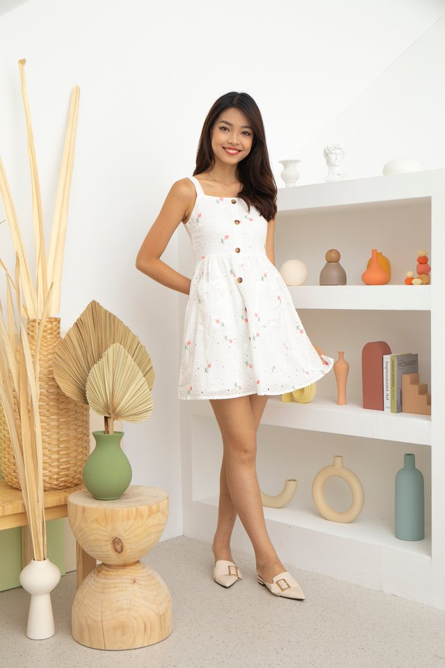 Amira Eyelet Embroidery Dress in Pink
