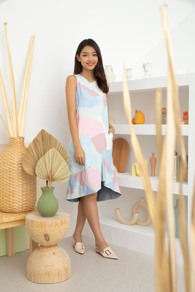 Caterina Abstract Hi-Lo Dress in Blue/Pink
