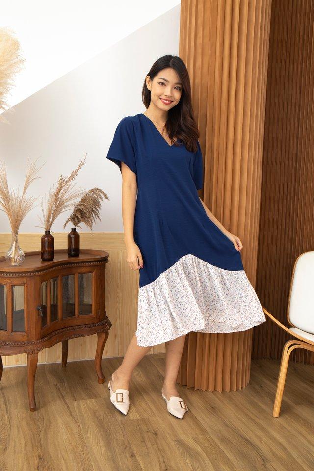 Peyton Floral Ruffle Hem Midi Dress in Blue