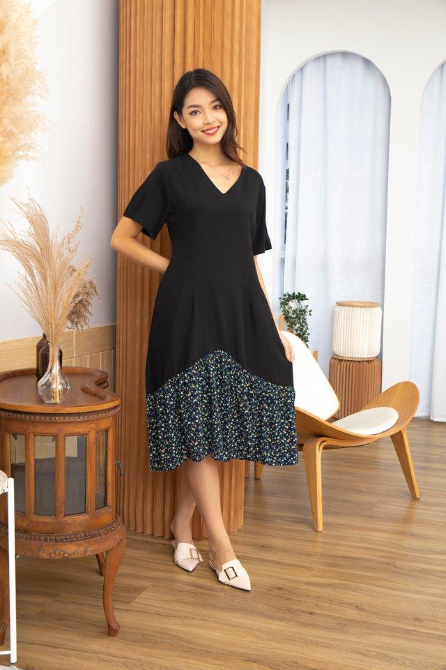 Peyton Floral Ruffle Hem Midi Dress in Black
