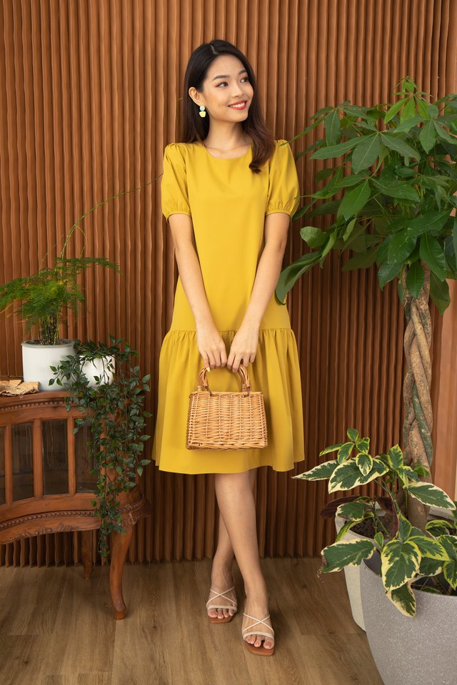 Alviria Puff Sleeve Cascade Dress in Mustard