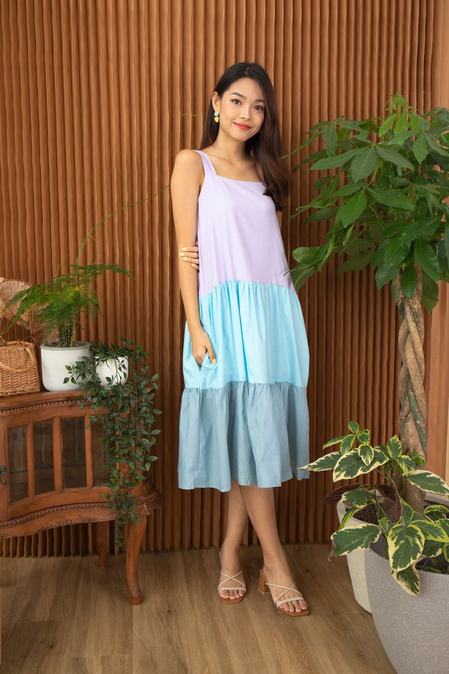 Gisela 3-tier Colourblock Dress in Lilac