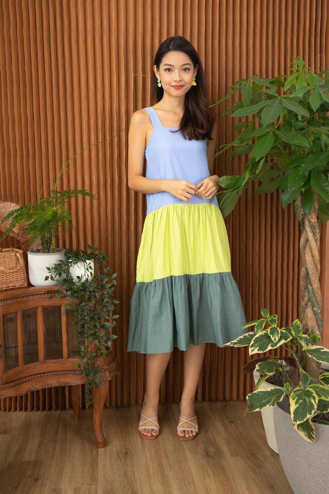 Gisela 3-tier Colourblock Dress in Blue
