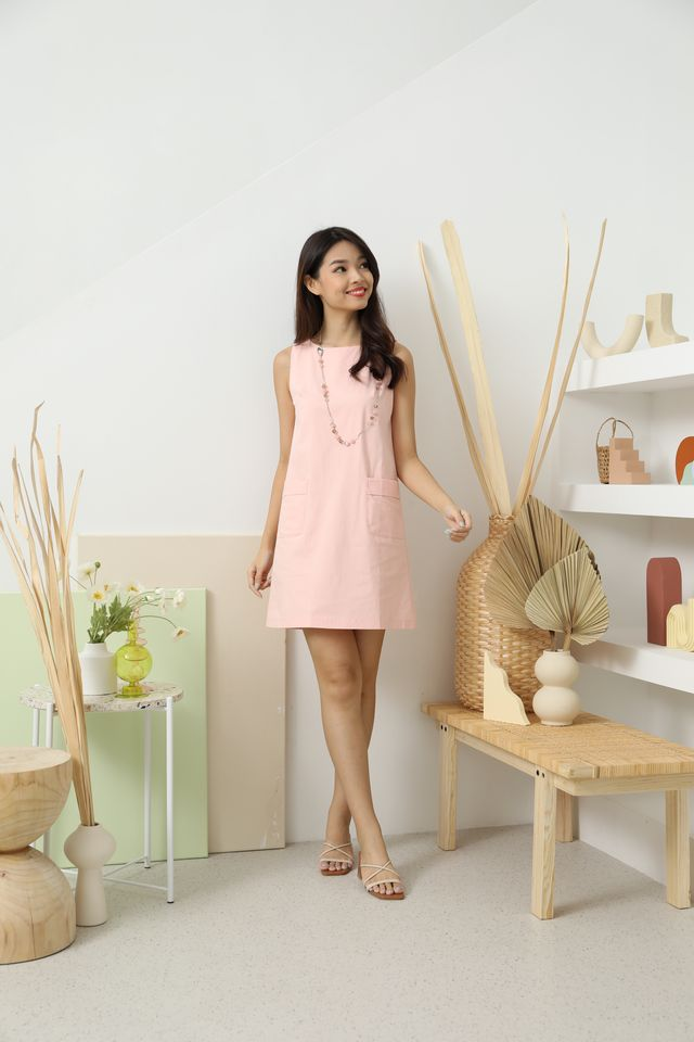 Alessa Double Pockets Shift Dress in Rose