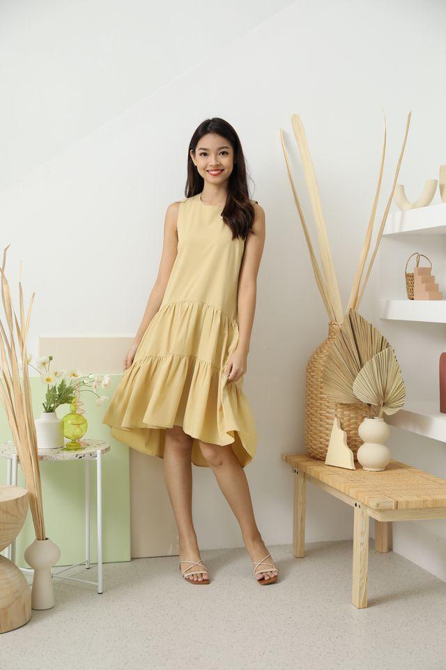 Hattie Drop Waist Hi-Low Ruffle Dress in Yellow