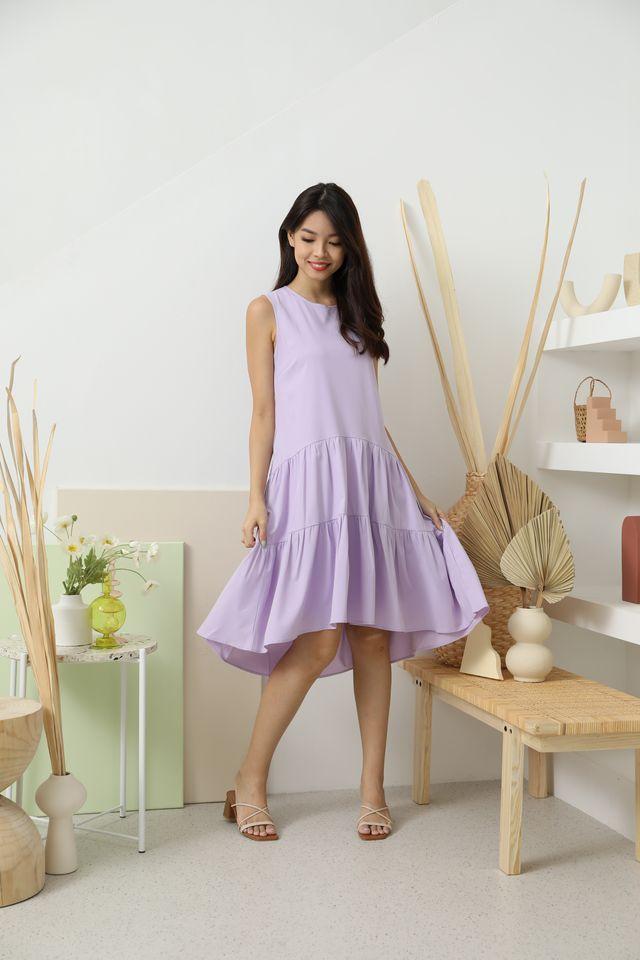 Hattie Drop Waist Hi-Low Ruffle Dress in Lilac