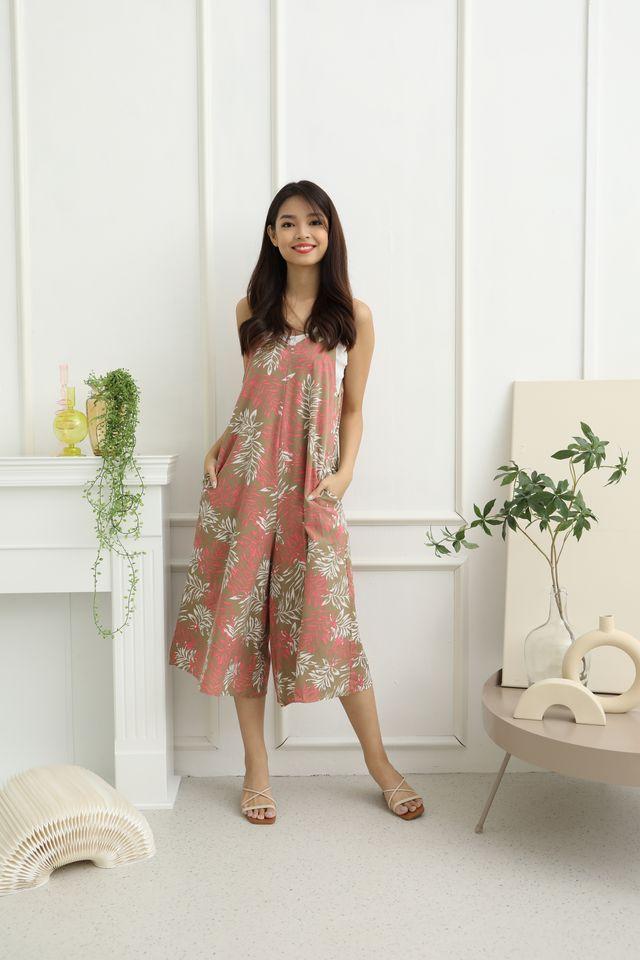 Ferda Slip On Tropical Print Jumpsuit in Pink