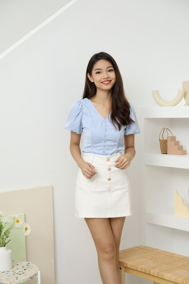 Theodore Buttoned Down Top in Powderblue