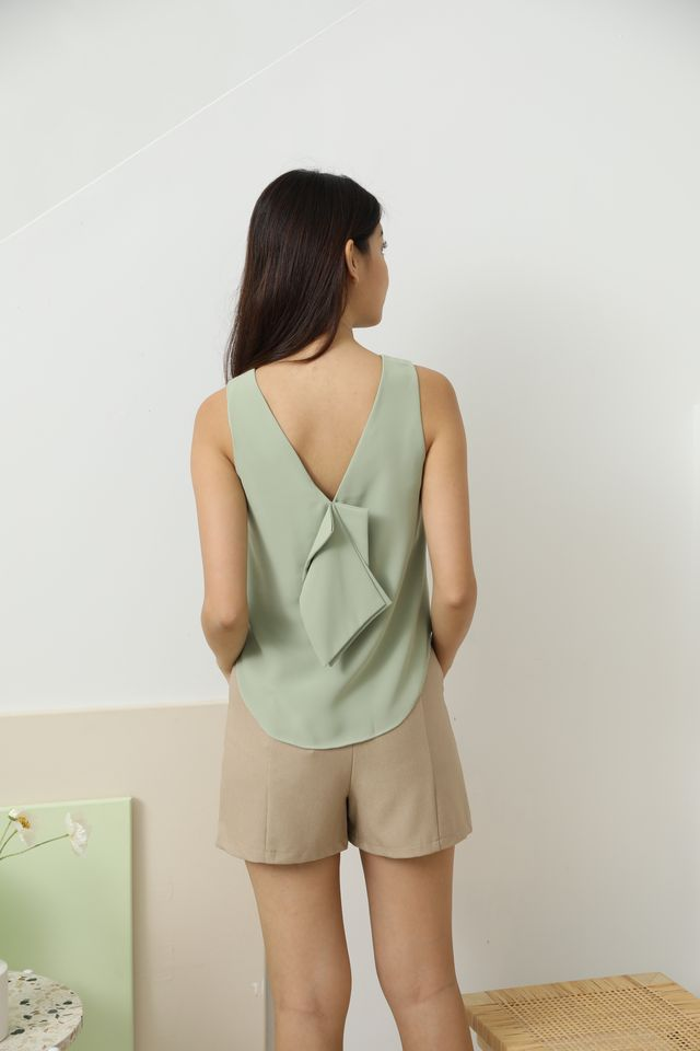 Rielle Bow Back Top in Sage