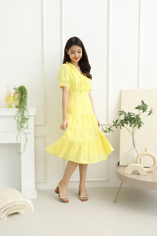 Lacey Embroidery Midi Dress in Yellow