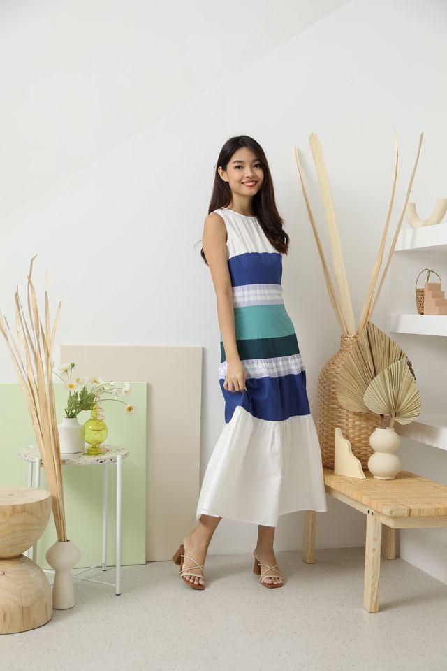 Suzette Multi Tone Maxi Dress in Blue
