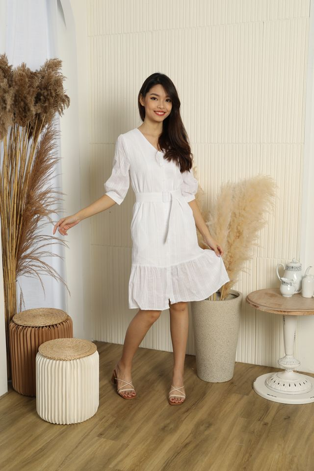 Hazelle Buttoned Down Ruffle Midi Dress in White