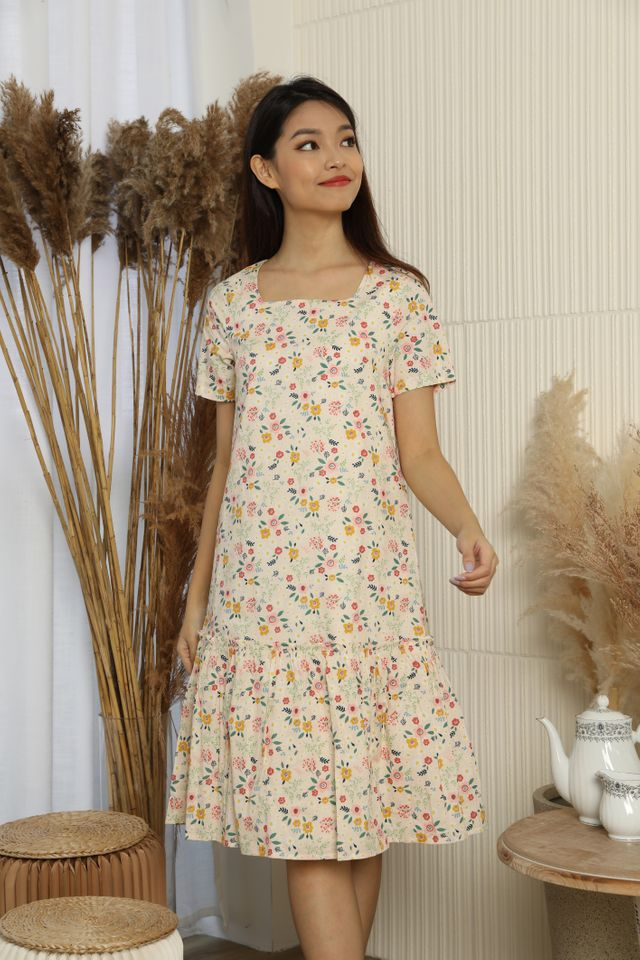 Elodie Square Neck Ruffle Gathered Dress in Cream