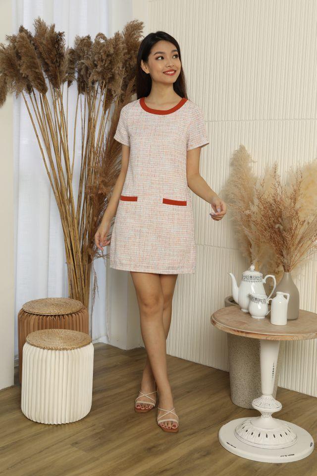 Tiffany Front Dual Pockets Tweed Dress in Rust