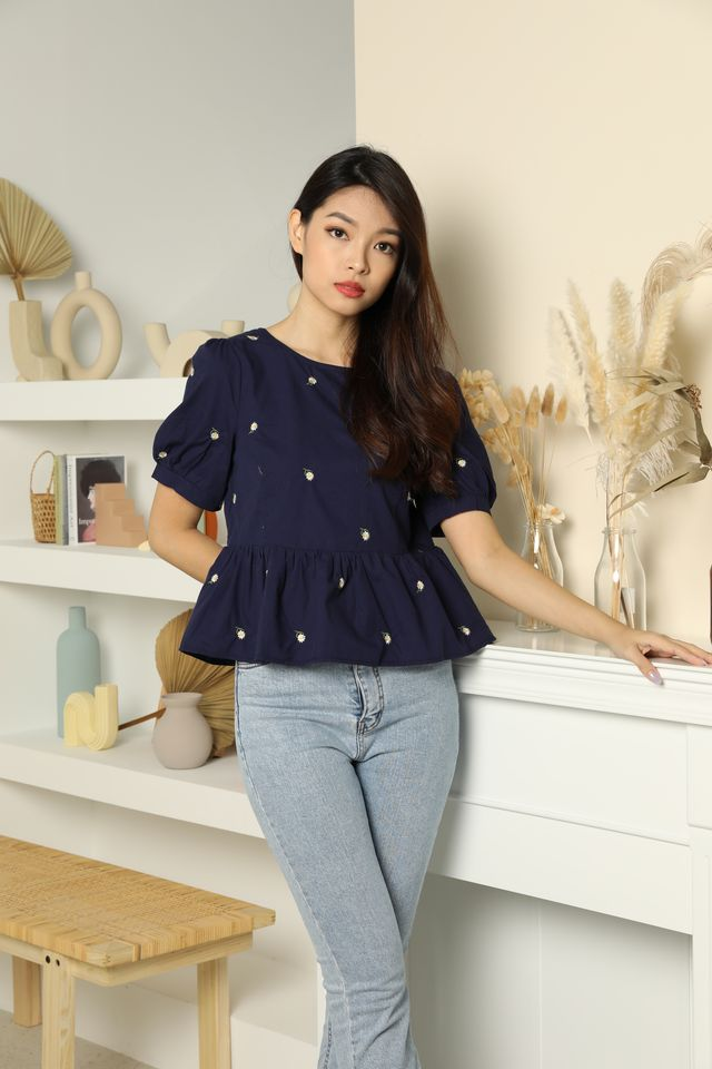Marigold Two-Way Embroidered Blouse in Navy
