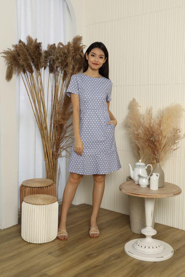 Briony Polka Dots Ruffle Hem A-line Dress in Blue